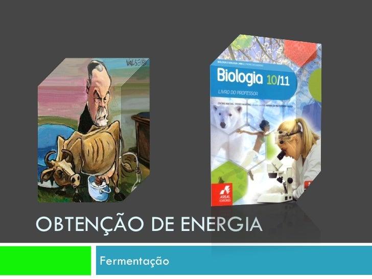 OBTENÇÃO DE ENERGIA      Fermentação