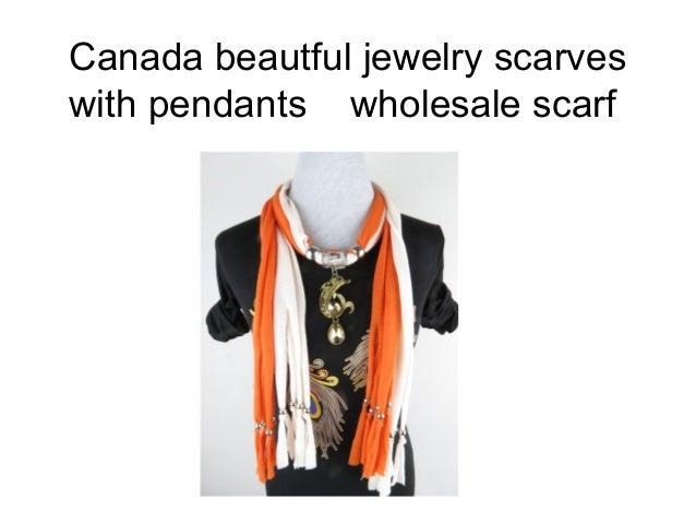 Canada beautful jewelry scarveswith pendants wholesale scarf