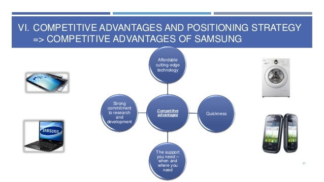 VI. COMPETITIVE ADVANTAGES AND POSITIONING STRATEGY => COMPETITIVE ADVANTAGES OF SAMSUNG Affordable cutting-edge technolog...