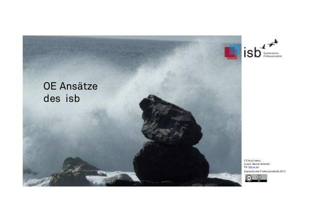 OE Ansätze des isb CC-by-Lizenz, Autor: Bernd Schmid für isb-w.eu Systemische Professionalität 2013