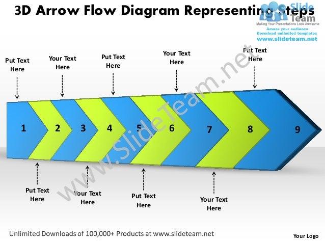 3D Arrow Flow Diagram Representing Steps                                                       Your Text               Put...