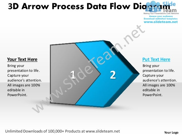 Ppt 3d arrow process data flow network diagram powerpoint template bu your logo 3 sciox Choice Image
