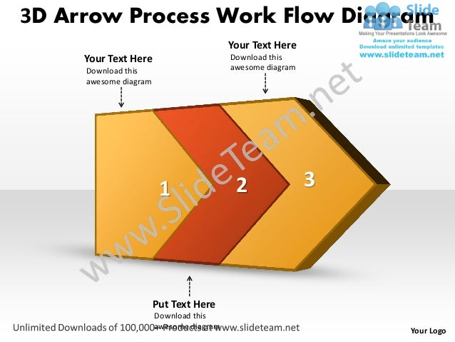 ppt 3d arrow process work flow swim lane diagram powerpoint template