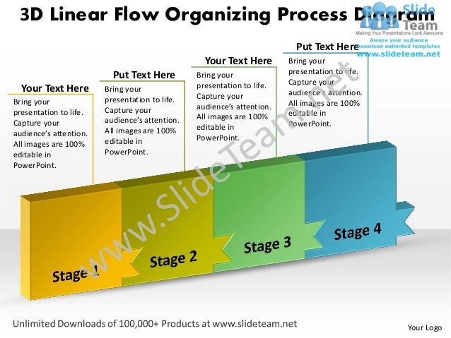 3D Linear Flow Organizing Process Diagram                                                                          Put Tex...