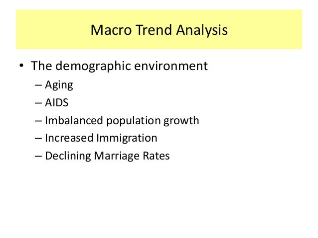 trends macro environment One method used to analyze trends in the macro environment is the pest (political, economic, social, technological) analysis some variations of the pest analysis method add additional categories for the legal and ecological environments, and may be referred to by other acronyms such as steep or pestel.