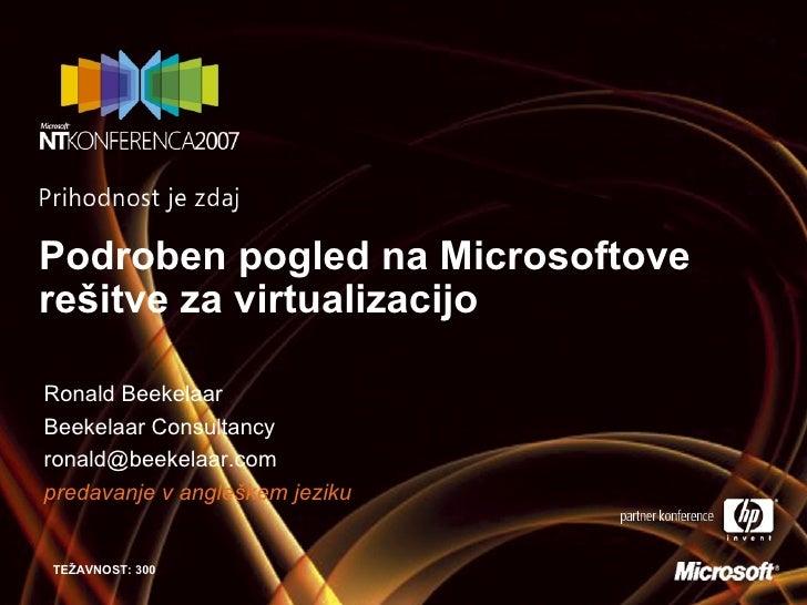 Podroben pogled na Microsoftove re šitve za virtualizacijo Ronald Beekelaar Beekelaar Consultancy [email_address] predavan...