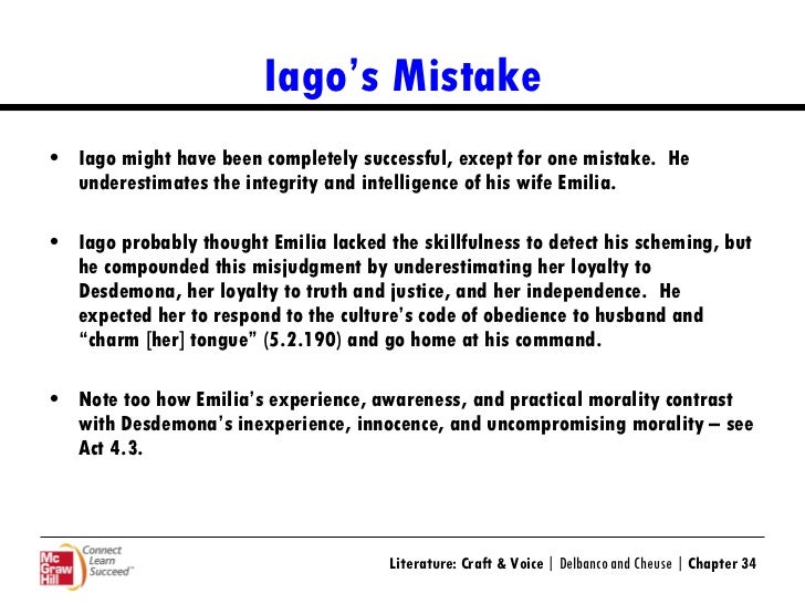 lago s soliloquy in othello The first soliloquy i will be using for my analysis appears in act 1 scene 3 of shakespeare's play othello and is a product of iago's thoughts this soliloquy is the first we encounter from iago in the play so i believe it is the first instance of dramatic significance we get to learn about as viewers.