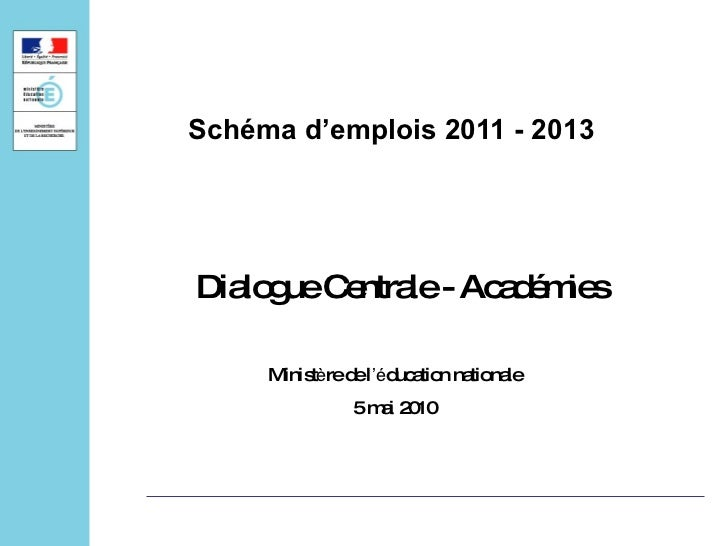 Schéma d'emplois 2011 - 2013 Dialogue Centrale - Académies  Minist è re de l 'é ducation nationale 5 mai 2010