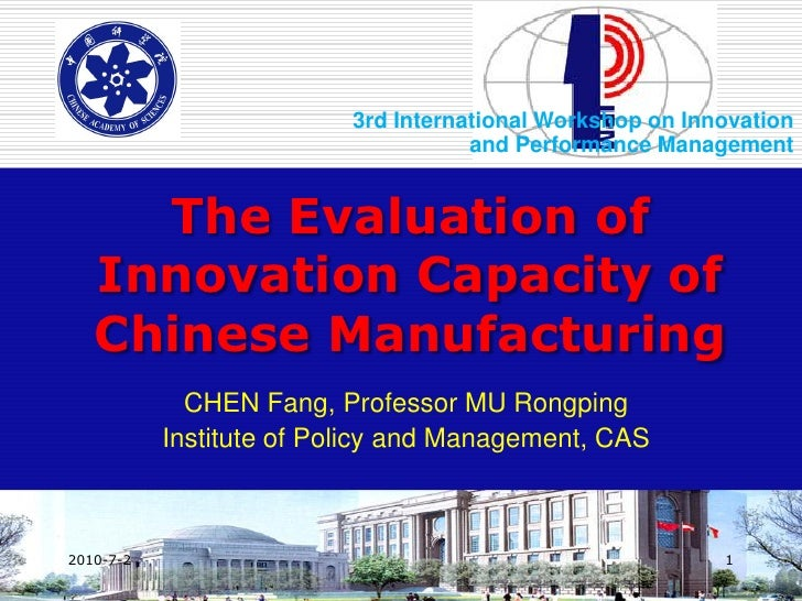 3rd International Workshop on Innovation                                      and Performance Management        The Evalua...