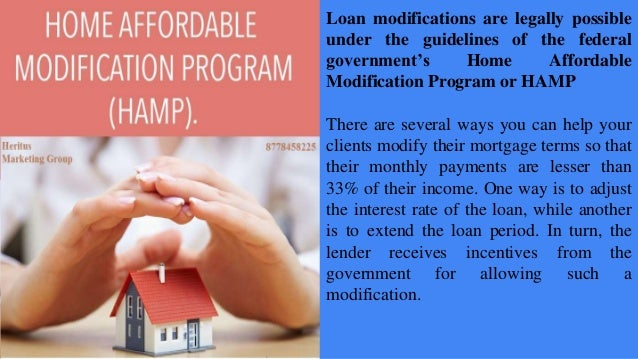 Loan modification offering your clients a way to keep Home affordable modification program