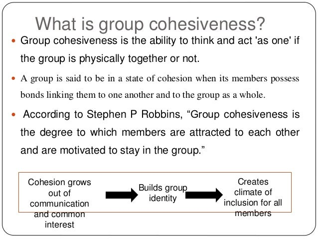 high cohesiveness in a group leads to higher group productivity To ensure high team performance, it is critical for project managers to evaluate whether or not a group is prepared to be a successful team at a minimum, high team performance requires strong group cohesion and effective communication skills.