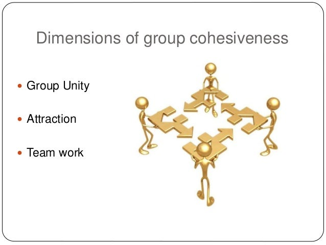 Dimensions of group cohesiveness  Group Unity  Attraction  Team work