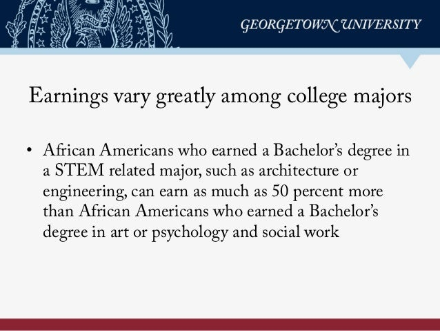 Earnings vary greatly among college majors • African Americans who earned a Bachelor's degree in a STEM related major, su...