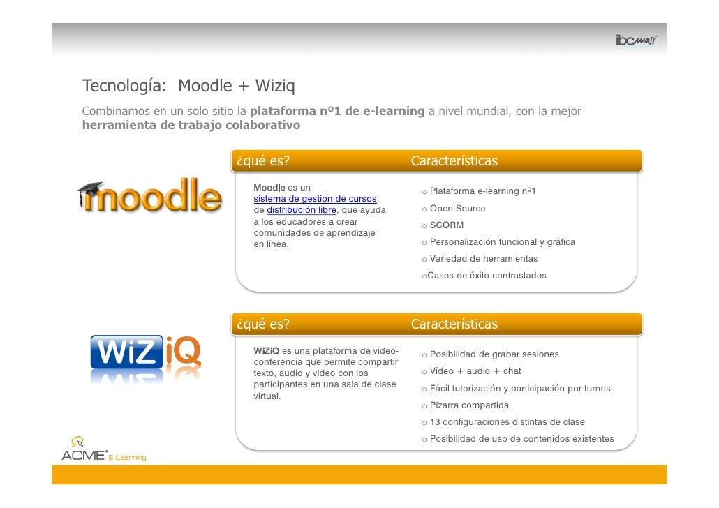 Tecnología: Moodle + Wiziq Combinamos en un solo sitio la plataforma nº1 de e-learning a nivel mundial, con la mejor herra...