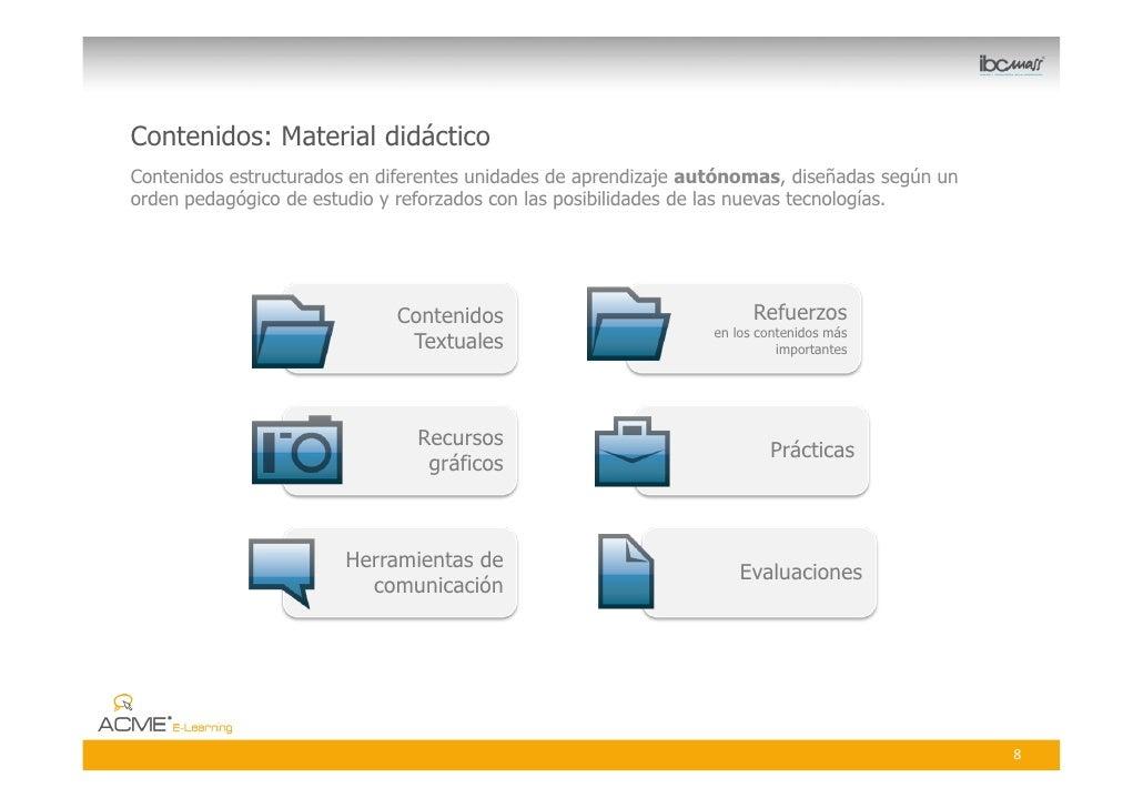 Contenidos: Material didáctico Contenidos estructurados en diferentes unidades de aprendizaje autónomas, diseñadas según u...