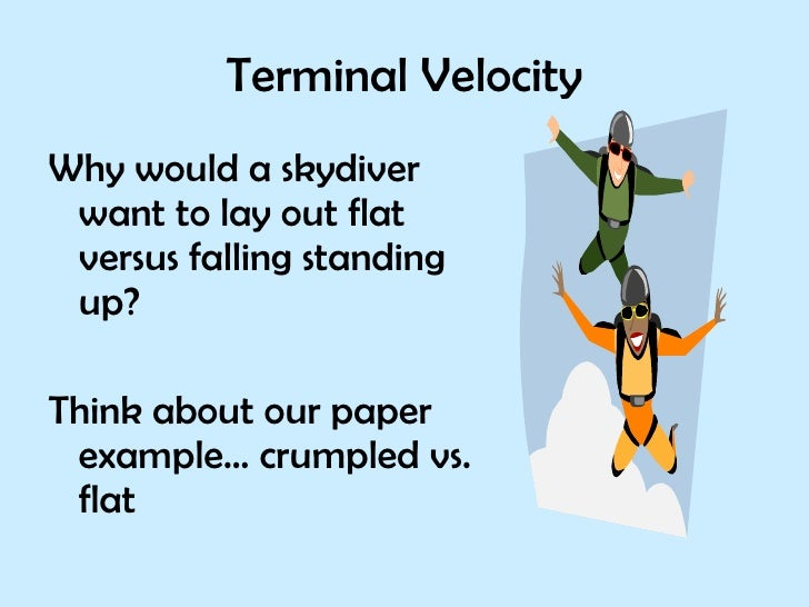 terminal velocity paper helicopter The terminal velocity of a paper helicopter:: papersthe terminal velocity of a paper helicopter introduction terminal velocity is the resulting occurance when acceleration and resistance forces are equal.