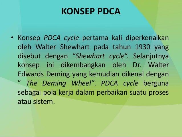 "KONSEP PDCA • Konsep PDCA cycle pertama kali diperkenalkan oleh Walter Shewhart pada tahun 1930 yang disebut dengan ""Shewh..."