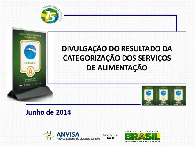 DIVULGAÇÃO DO RESULTADO DA CATEGORIZAÇÃO DOS SERVIÇOS DE ALIMENTAÇÃO Junho de 2014
