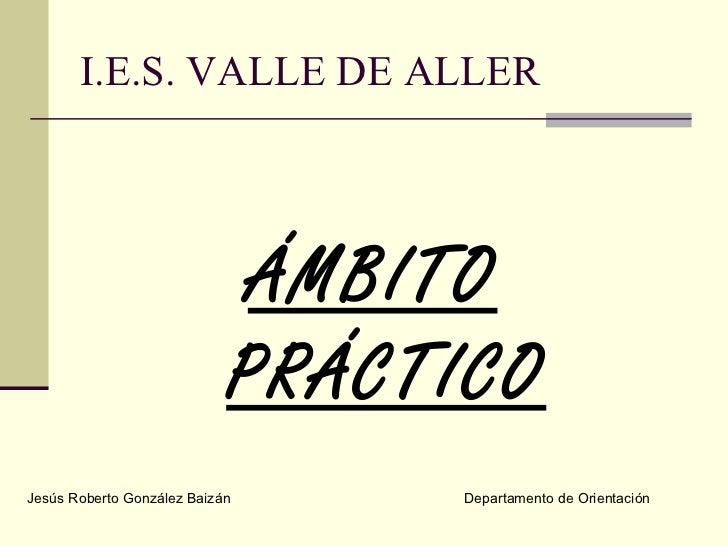 I.E.S. VALLE DE ALLER <ul><li>ÁMBITO PRÁCTICO </li></ul>Jesús Roberto González Baizán Departamento de Orientación