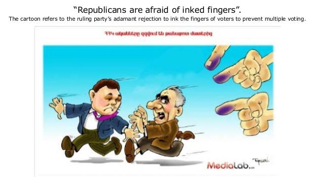 """""""Republicans are afraid of inked fingers"""". The cartoon refers to the ruling party's adamant rejection to ink the fingers o..."""