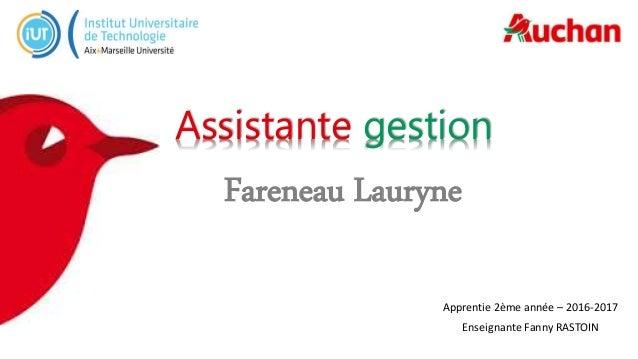 Fareneau Lauryne Apprentie 2ème année – 2016-2017 Enseignante Fanny RASTOIN Assistante gestion