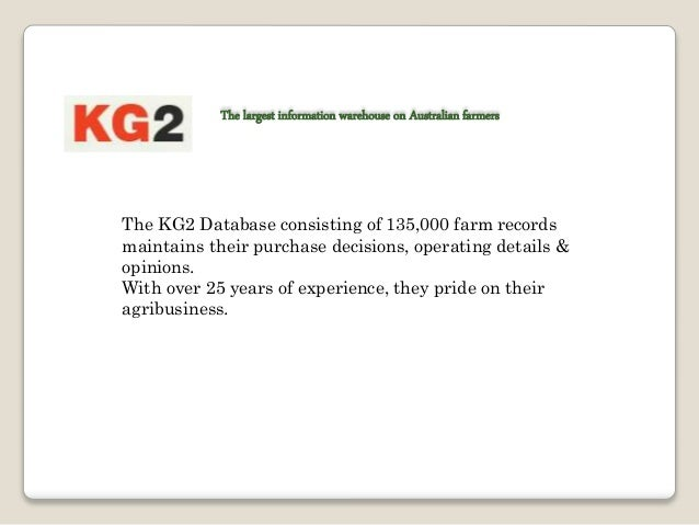 Markets Served Grain & Cotton Production: KG2 works with the leading organizations involved in crop production in Australi...