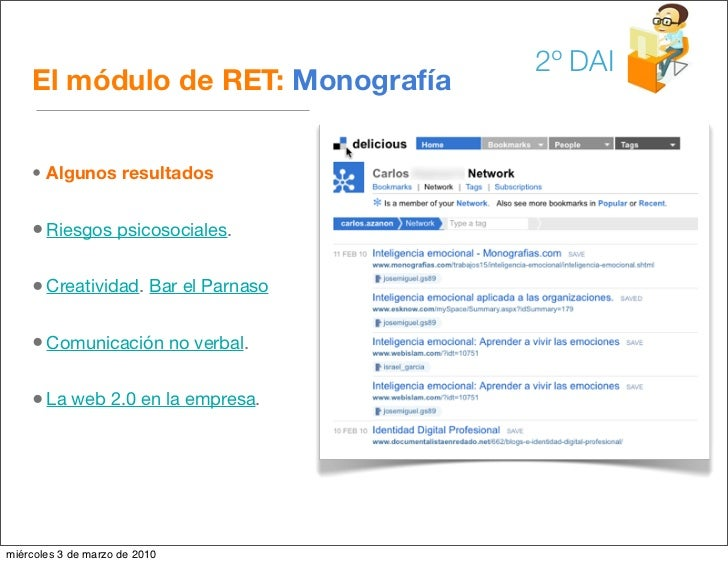 2º DAI     El módulo de RET: Monografía       • Algunos resultados       • Riesgos psicosociales.      • Creatividad. Bar ...