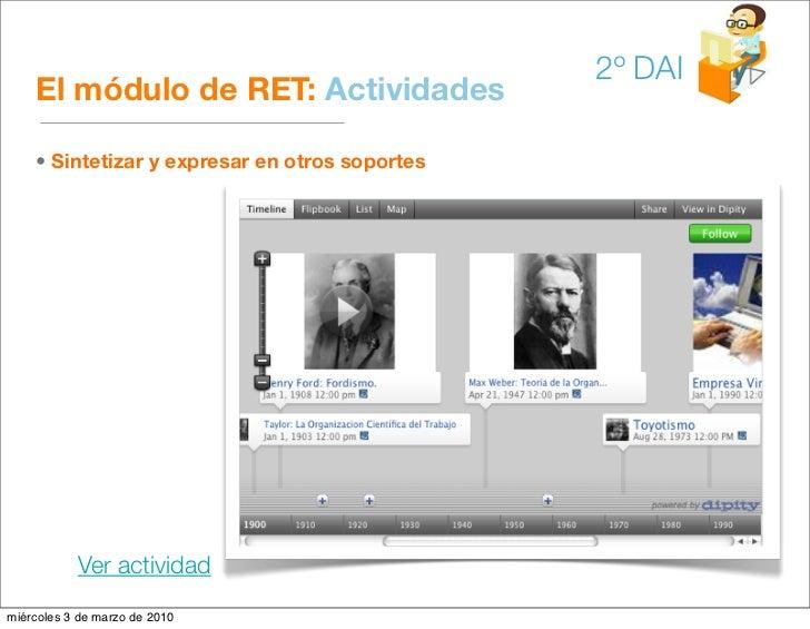 2º DAI     El módulo de RET: Actividades      • Sintetizar y expresar en otros soportes                Ver actividad miérc...
