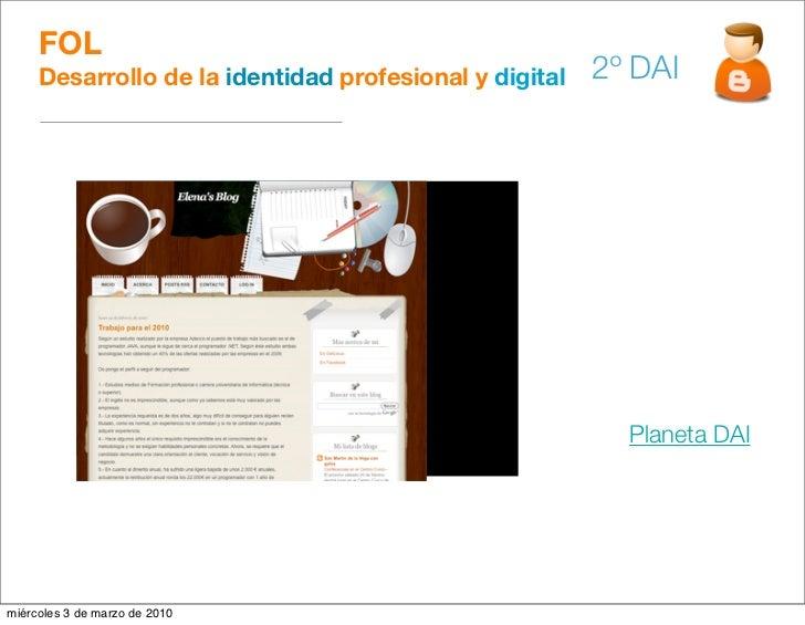 FOL      Desarrollo de la identidad profesional y digital   2º DAI                                                        ...