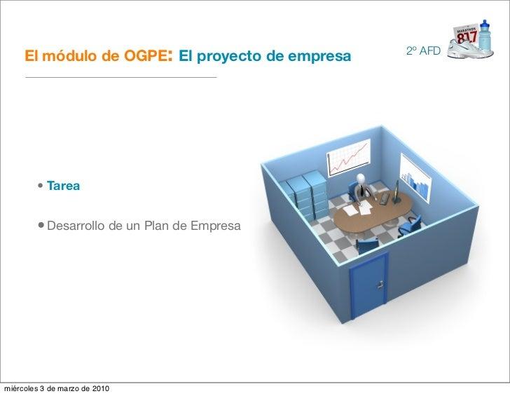 El módulo de OGPE: El proyecto de empresa   2º AFD             • Tarea           • Desarrollo de un Plan de Empresa     mi...