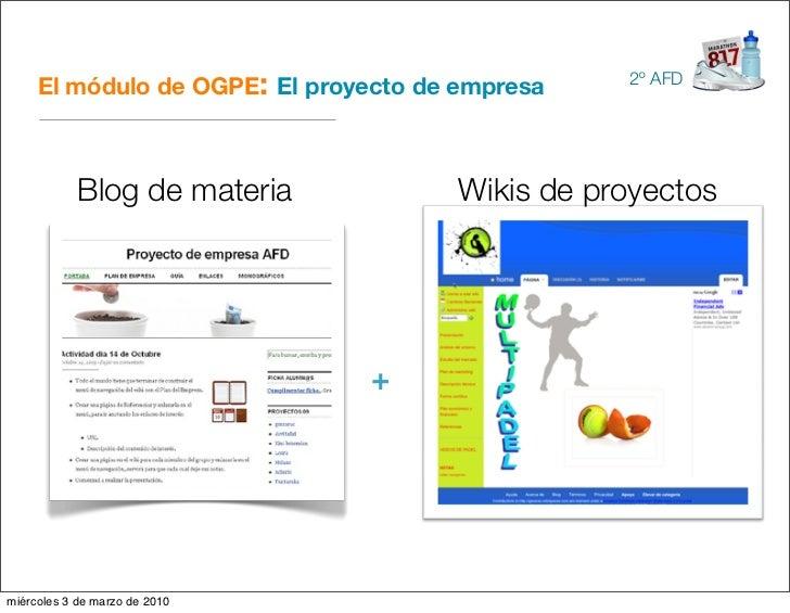El módulo de OGPE: El proyecto de empresa   2º AFD                 Blog de materia           Wikis de proyectos           ...