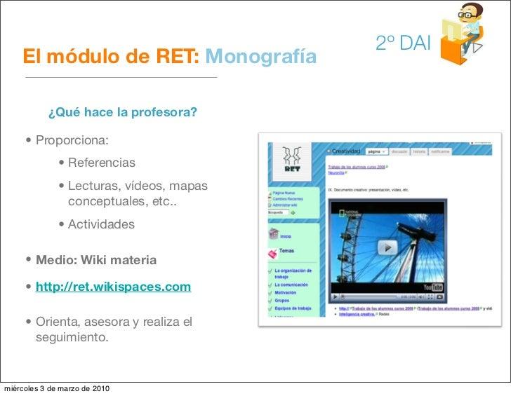 2º DAI     El módulo de RET: Monografía             ¿Qué hace la profesora?       • Proporciona:               • Referenci...
