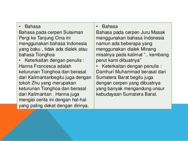 • Bahasa Bahasa pada cerpen Sulaiman Pergi ke Tanjung Cina ini menggunakan bahasa Indonesia yang baku , tidak ada dialek a...