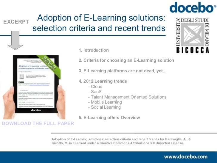 EXCERPT           Adoption of E-Learning solutions:          selection criteria and recent trends                         ...
