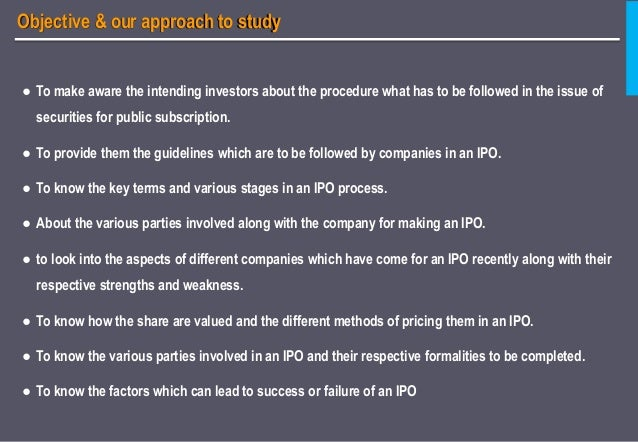 Strengths and weaknesses of ipo for