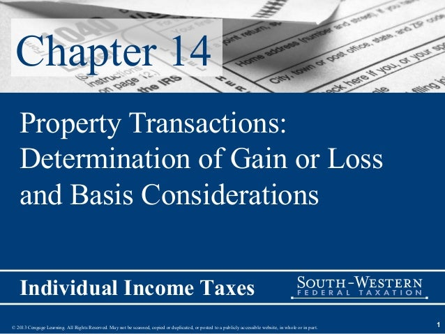 Chapter 14   Property Transactions:   Determination of Gain or Loss   and Basis Considerations   Individual Income Taxes© ...