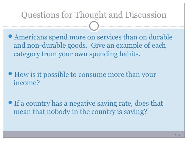5-12 Questions for Thought and Discussion Americans spend more on services than on durable and non-durable goods. Give an...