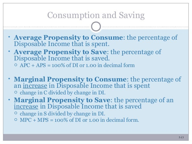 5-13 • Average Propensity to Consume: the percentage of Disposable Income that is spent. • Average Propensity to Save: the...