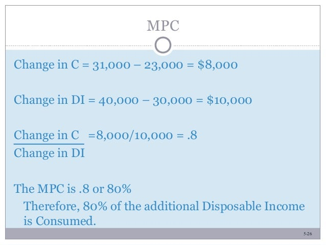 5-26 MPC Change in C = 31,000 – 23,000 = $8,000 Change in DI = 40,000 – 30,000 = $10,000 Change in C =8,000/10,000 = .8 Ch...