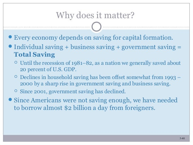 5-40 Why does it matter? Every economy depends on saving for capital formation. Individual saving + business saving + go...