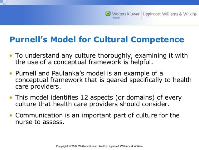 the purnell model for cultural competence This article provides an overview of the purnell model for cultural competence and the assumptions on which the model is based the 12 domains comprising the.