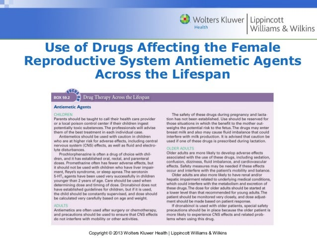 Use of Drugs Affecting the Female  Reproductive System Antiemetic Agents  Across the Lifespan  Copyright © 2013 Wolters Kl...