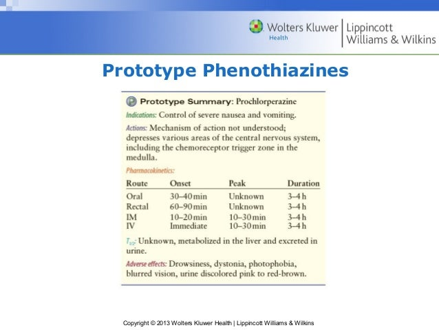 Prototype Phenothiazines  Copyright © 2013 Wolters Kluwer Health   Lippincott Williams & Wilkins