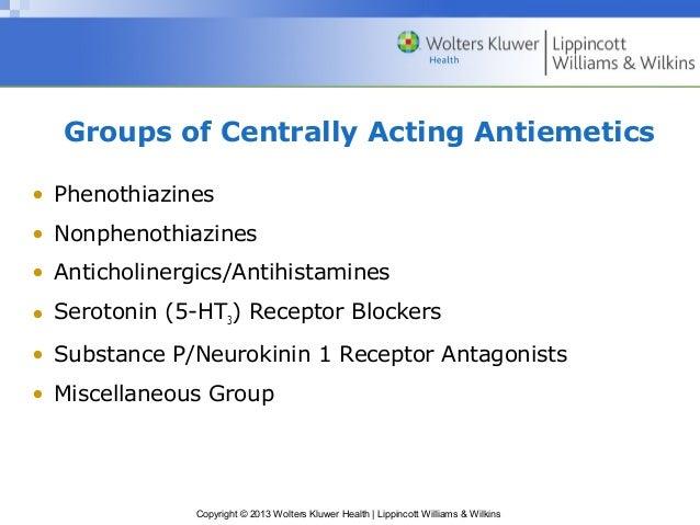 Groups of Centrally Acting Antiemetics  • Phenothiazines  • Nonphenothiazines  • Anticholinergics/Antihistamines  • Seroto...