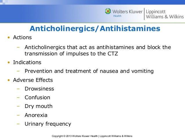 Anticholinergics/Antihistamines  Copyright © 2013 Wolters Kluwer Health   Lippincott Williams & Wilkins  • Actions  – Anti...