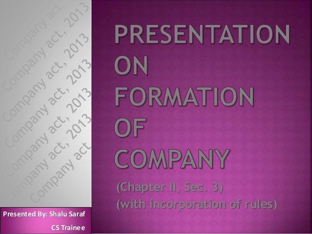 (Chapter II, Sec. 3) (with incorporation of rules) Presented By: Shalu Saraf CS Trainee