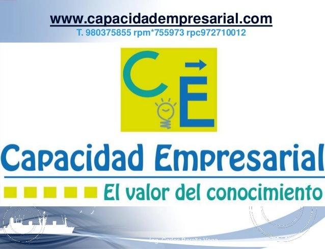 Ing. Carlos Peralta Vega www.capacidadempresarial.com T. 980375855 rpm*755973 rpc972710012