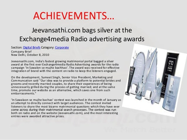 Jeevansathi.com emerges as the Leader in on line matrimony in domestic market Jeevansathi.com, India's fastest growing mat...