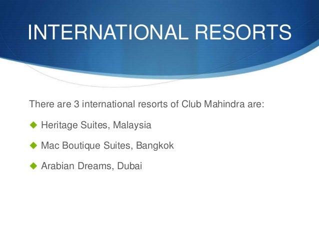 Tourism Amp Hospitality Club Mahindra