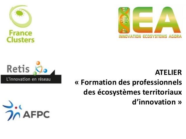 ATELIER « Formation des professionnels des écosystèmes territoriaux d'innovation »